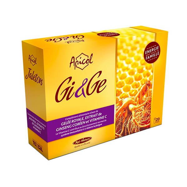 Gi&Ge - Ginseng Gelee royale Apicol - 20 fioles Api nature