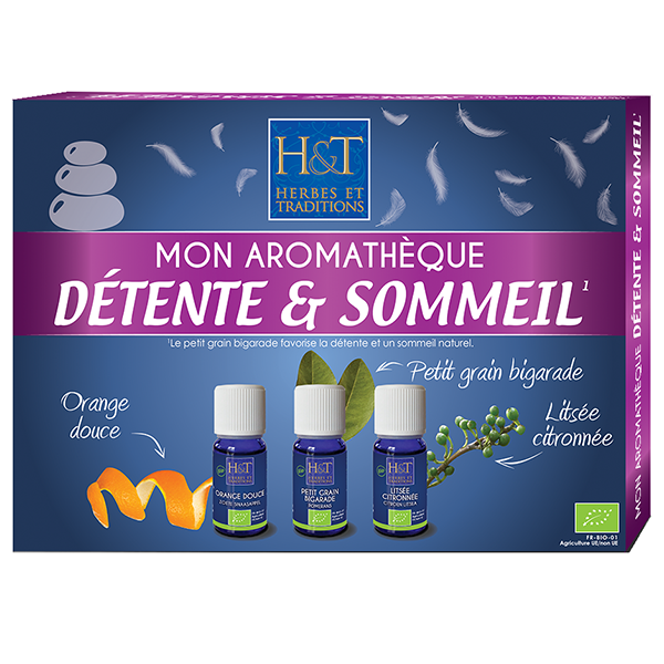 Coffret aromatheque Sommeil Detente - 3 huiles essentielles 10 ml Herbes Traditions