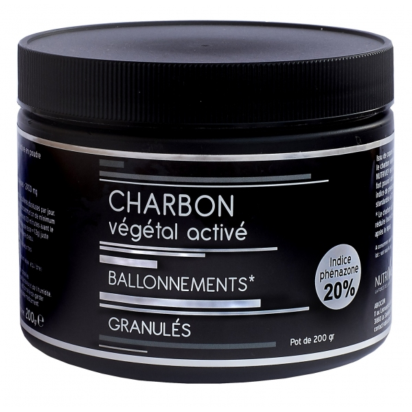 Charbon Vegetal Active en Granules - Pot 200g Nutrivie