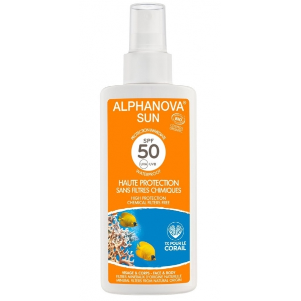 Solaire Adulte Bio SPF 50 - Spray 125 g Alphanova sun