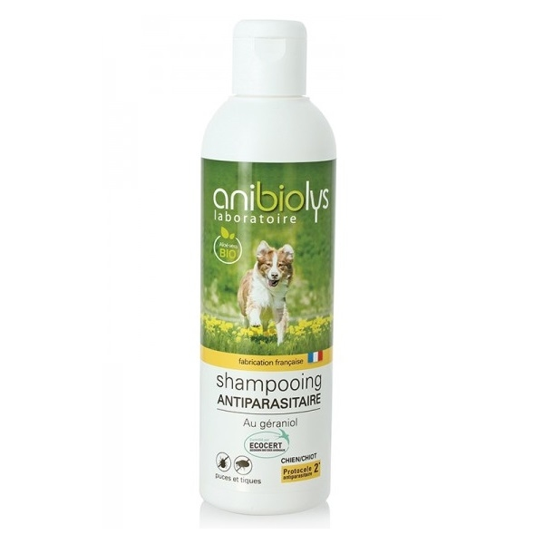 Shampoing bio Chien Chiot Antiparasitaire - Flacon 250ml Anibiolys