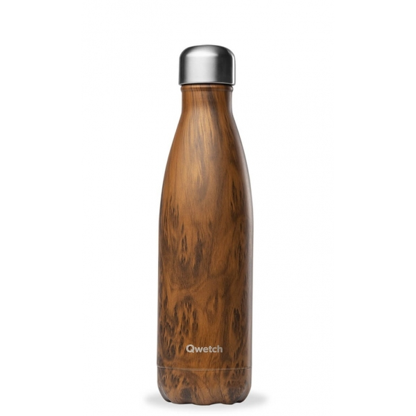 Bouteille isotherme Inox Wood - 500ml Qwetch