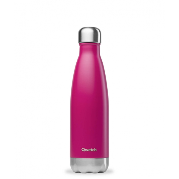 Bouteille isotherme Inox Magenta - 500ml Qwetch