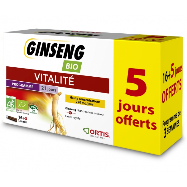 Ginseng Bio 21 fioles Ortis - 5 jours offerts